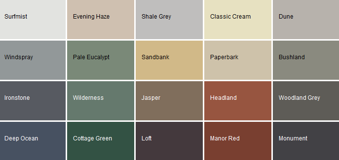 Colorbond Shed Color Selector