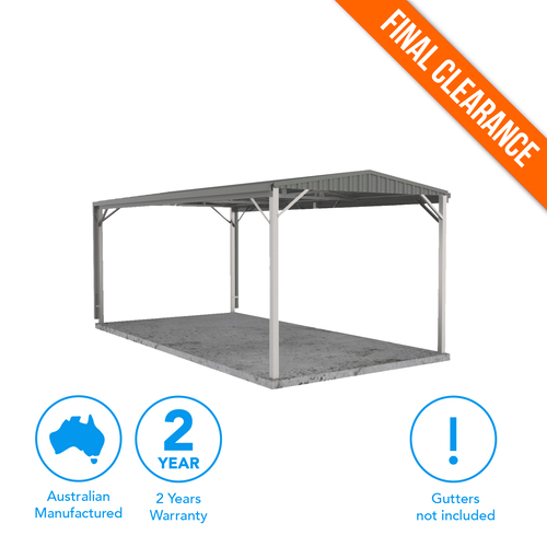 Factory Clearance - Single Gable Carport 3m x 6m in Grey